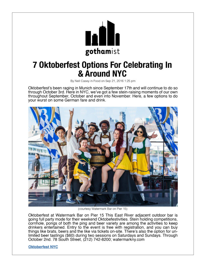 Gothamist - 7 Oktoberfest Options for celebrating In and Around NYC
