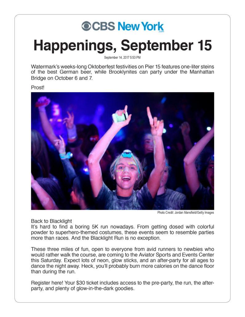 CBS New York . Happenings, September 15