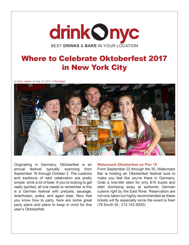 Drink NYC - Where to Celebrate Oktoberfest 2017 in New York City