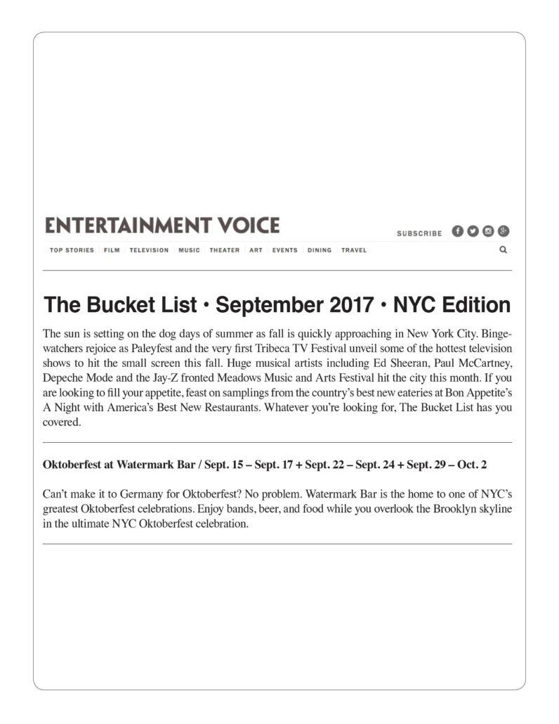 Entertainment Voice - Oktoberfest at Watermark Bar