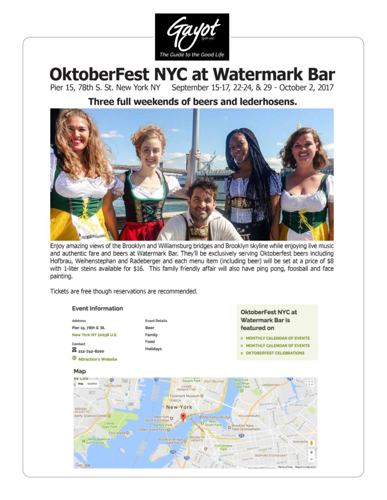 Gayot - Oktoberfest NYC at Watermark Bar