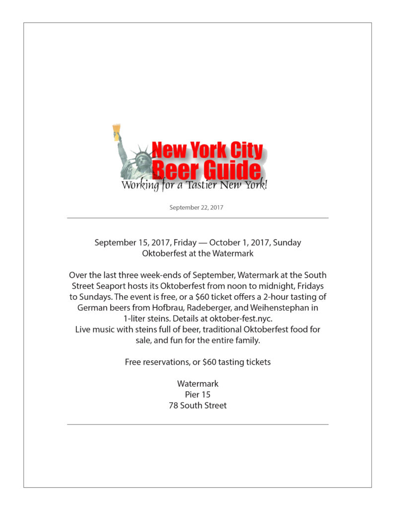 New York City Beer Guide - Oktoberfest at Watermark