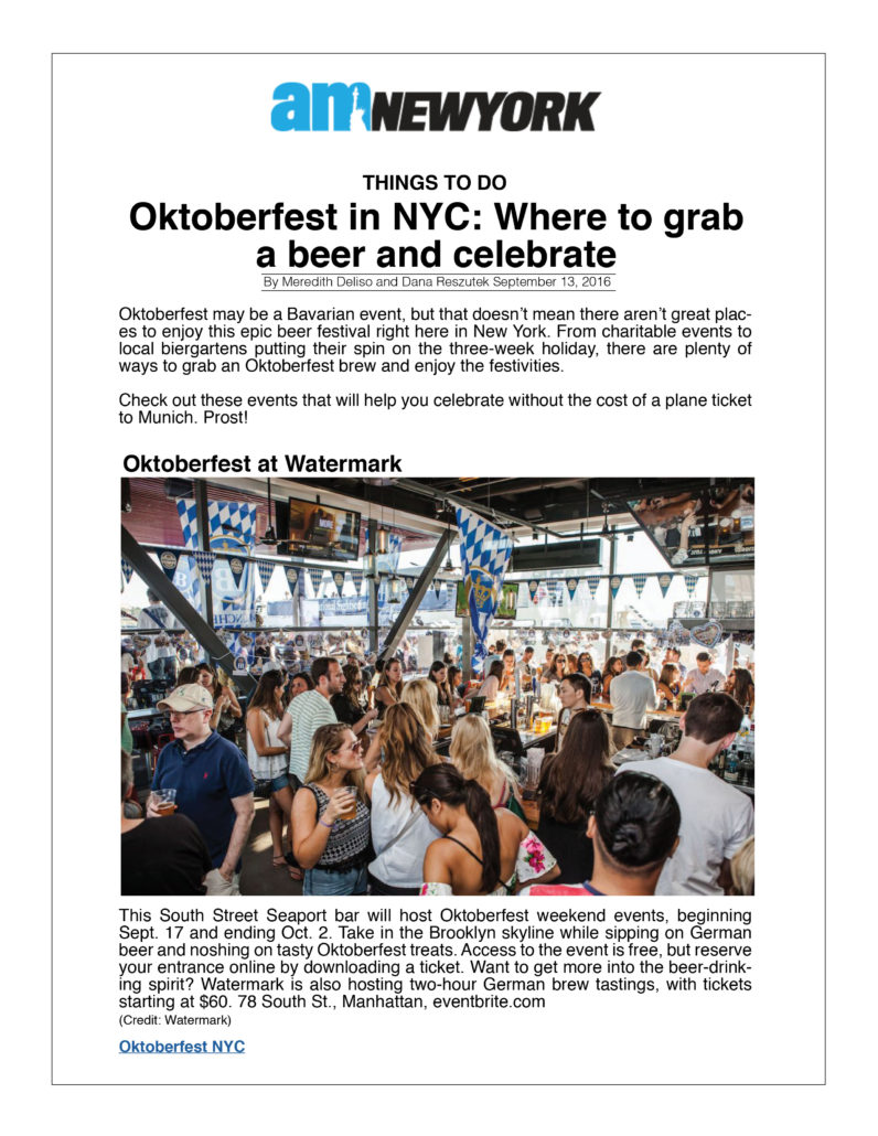 AM New York . Oktoberfest in NYC Where to Grab a Beer and Celebrate