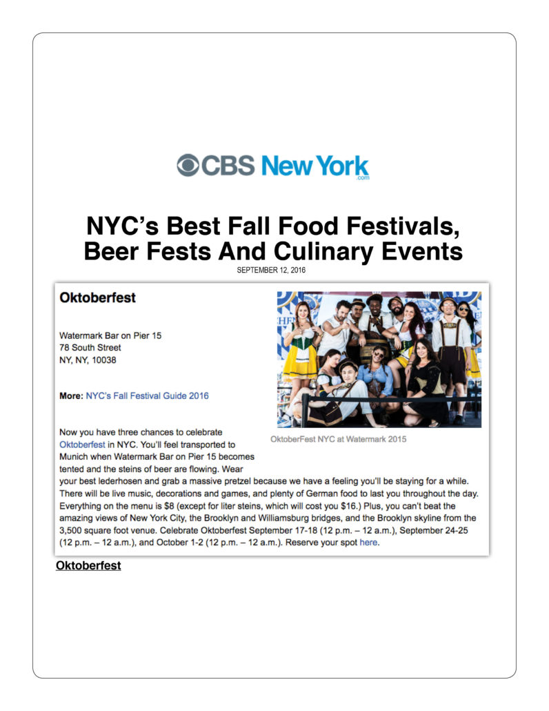 CBS New York - NYC's Best Fall Food Festivals, Beer Fests and Culinary Events