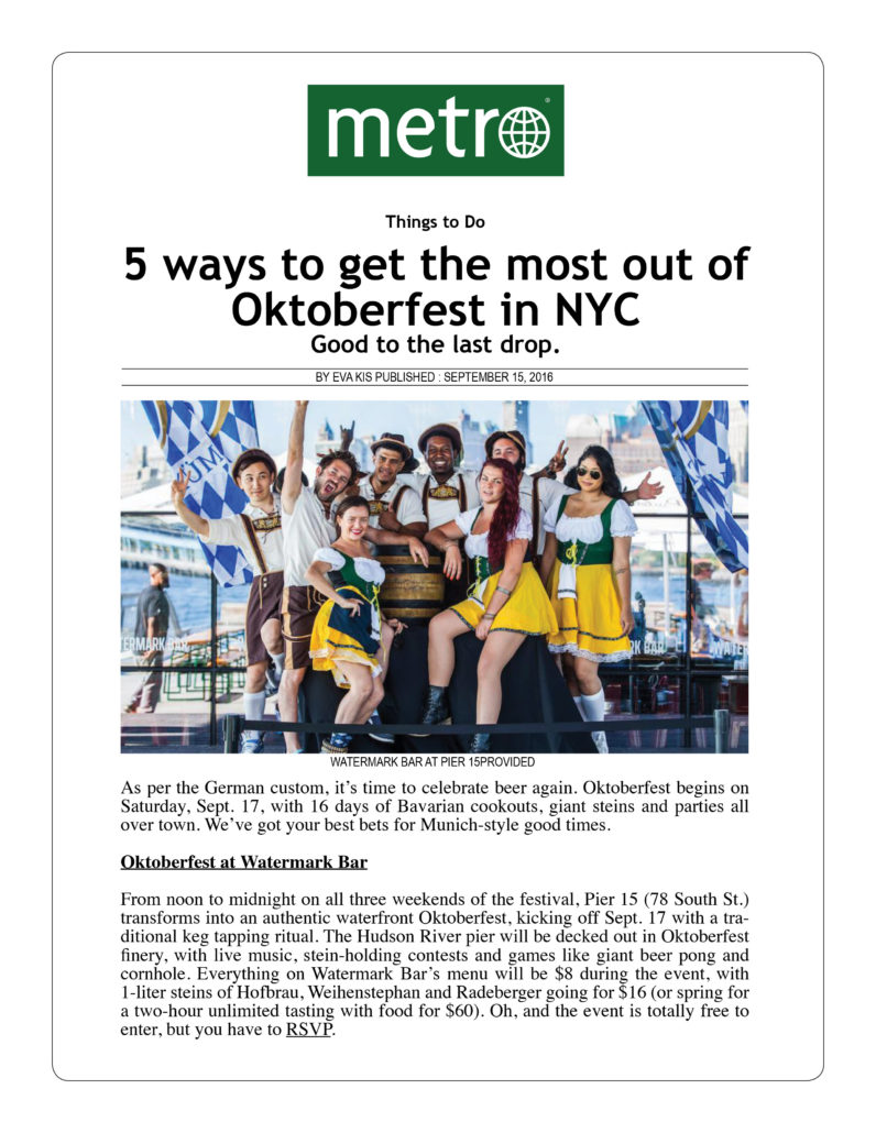 Metro - 5 Ways to Get the Most Out of Oktoberfest in NYC