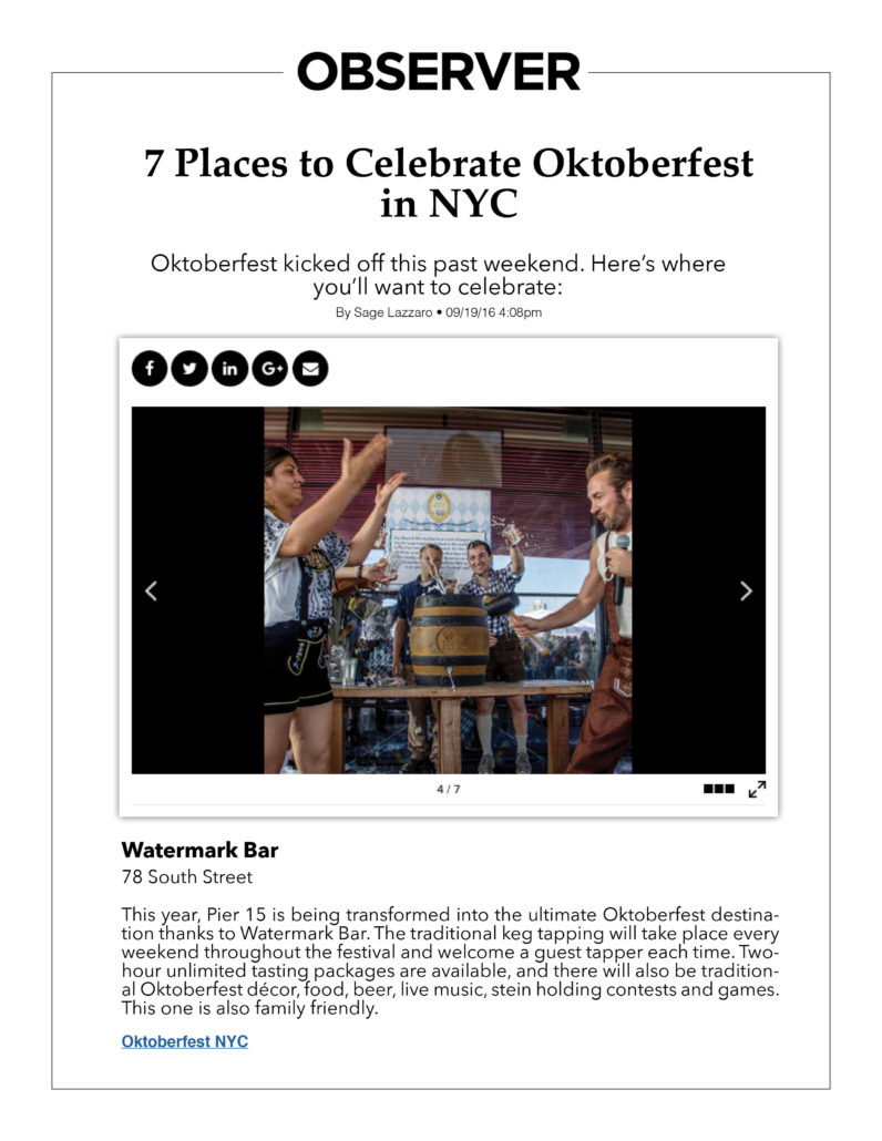 Observer - 7 Places to Celebreata Oktoberfest in NYC