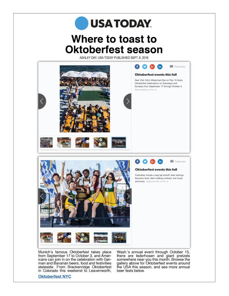 USA Today - Where to Toast to Oktoberfest Season