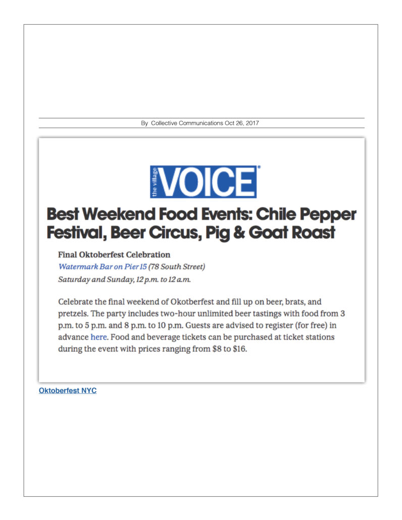 The Village Voice - Best Weekend Food Events