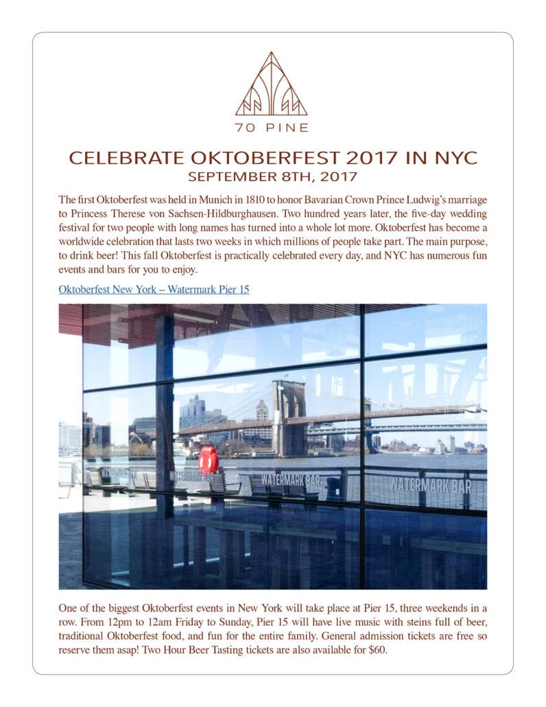 70 Pine - Celebrate Oktoberfest 2017 in NYC