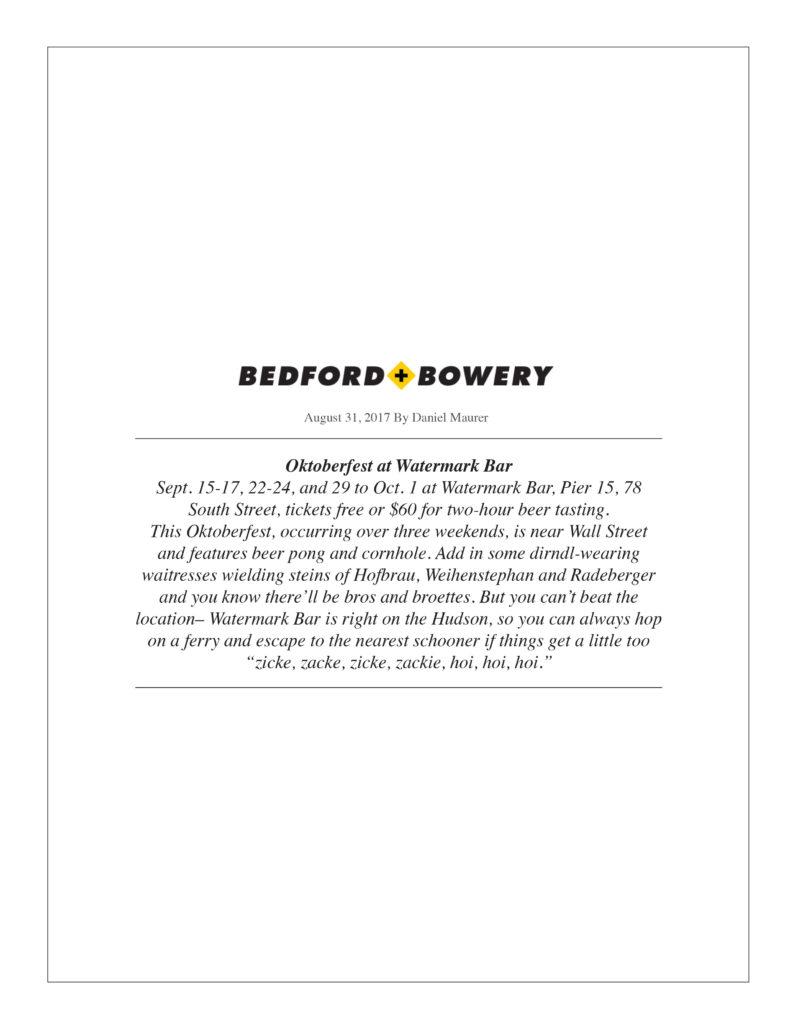 Bedford Bowery - Oktoberfest at Watermark Bar