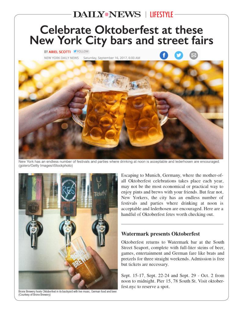 Daily News - Celebrate Oktoberfest at these New York City Bars