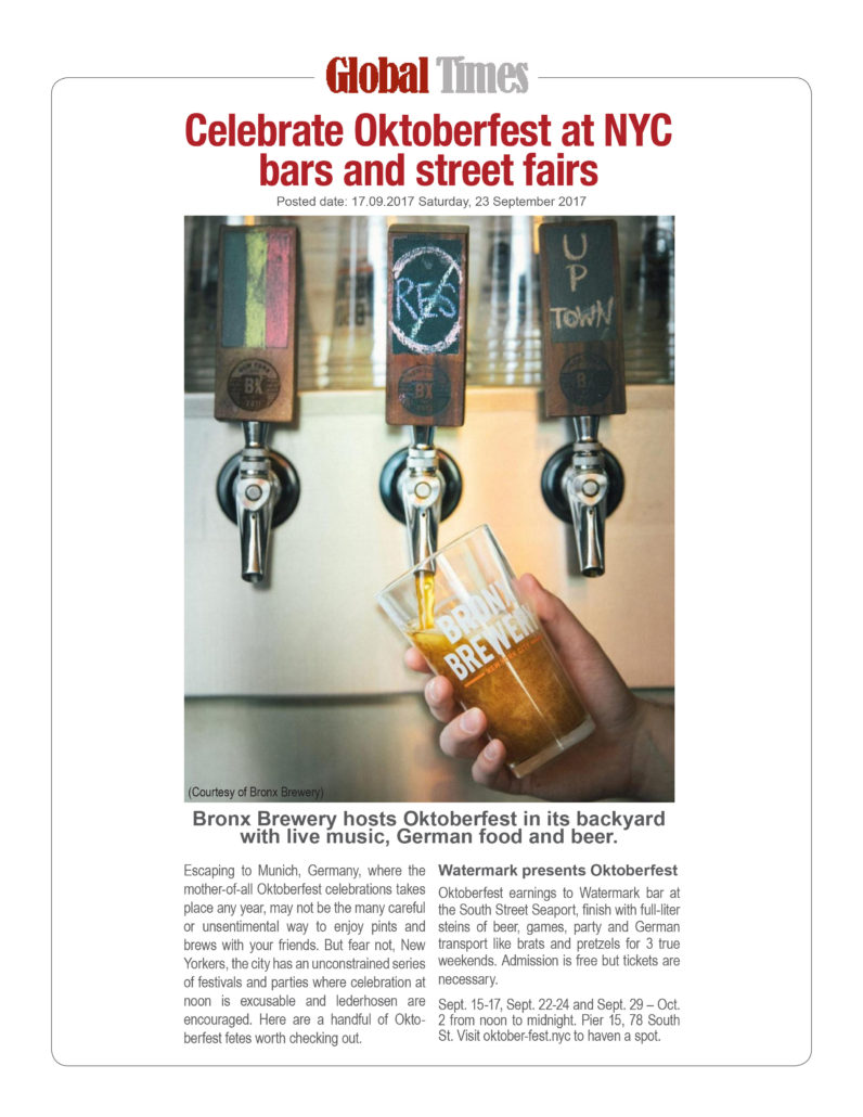 Global Times - Celebrate Oktoberfest at these New York City Bars