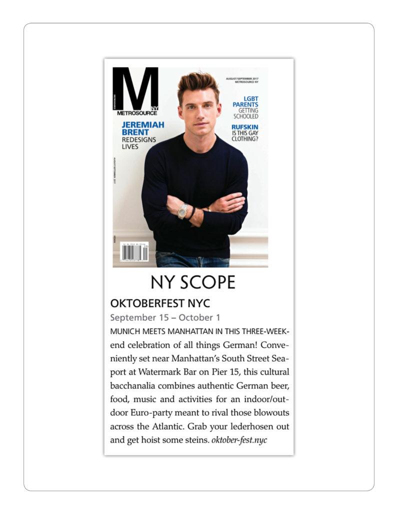 Metrosource NY - Oktoberfest NYC