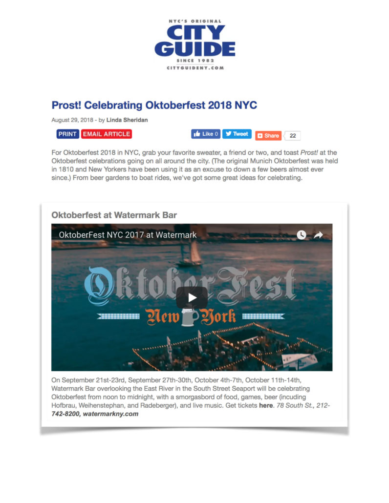 City Guide NY - Prost! Celebrating Oktoberfest 2018 NYC