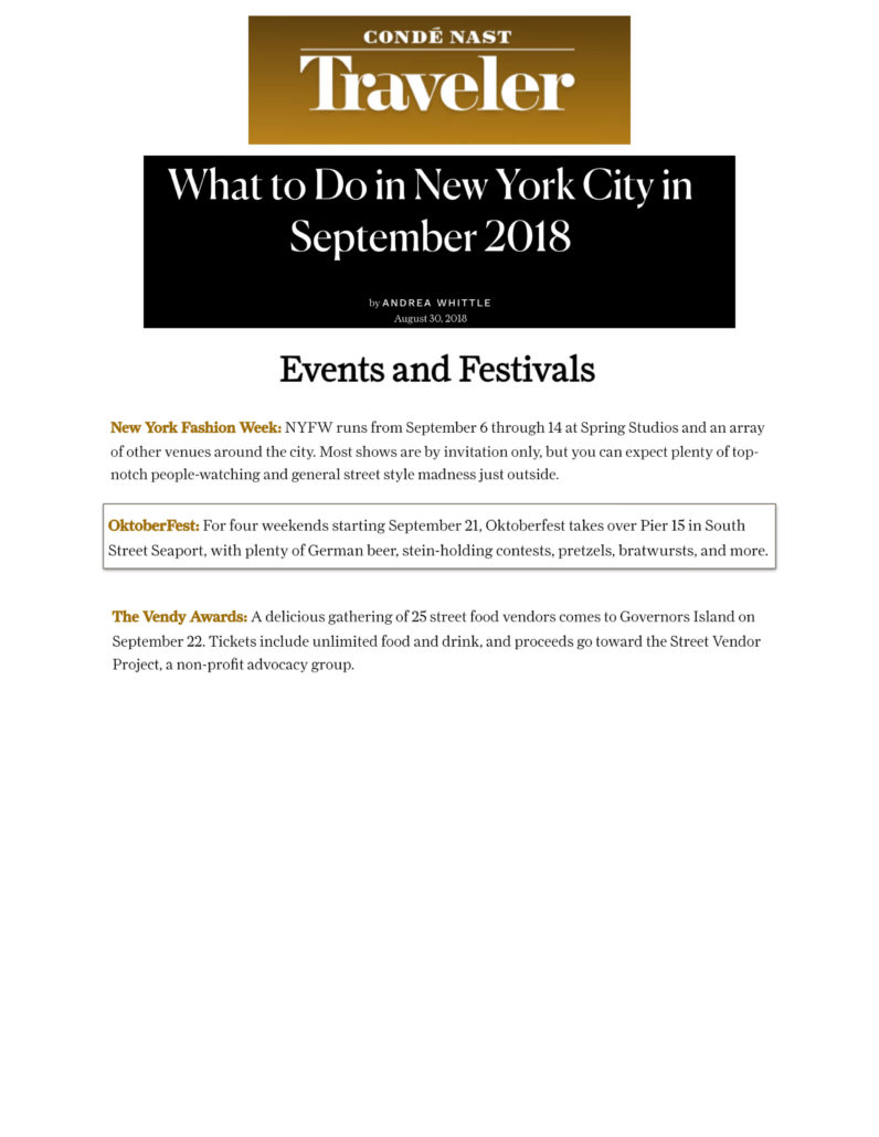 Conde Nast Traveler - What to Do in New York City in September 2018