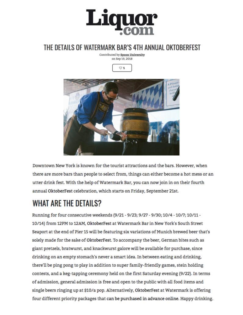 Liquor.com's - The Details Of Watermark Bar's 4th Annual Oktoberfest