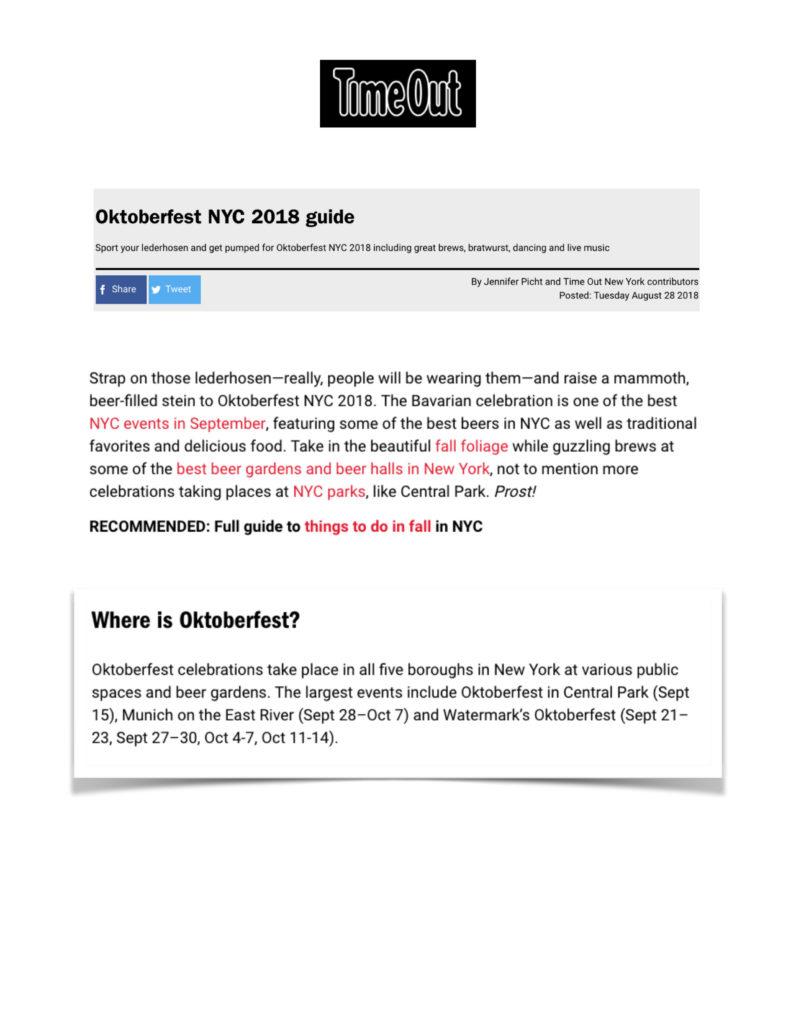 TimeOut - Oktoberfest NYC 2018 Guide