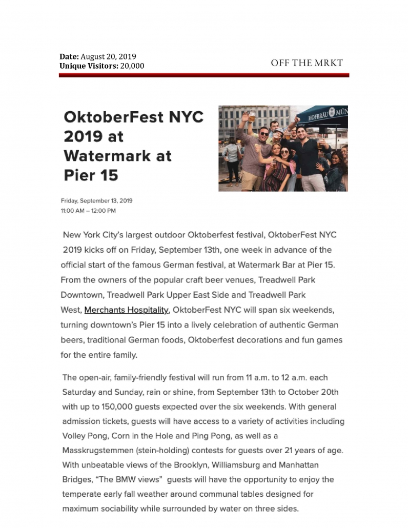 Off the MRKT - OktoberFest NYC 2019 at Watermark at Pier 15
