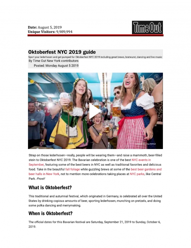 Time Out New York - Oktoberfest NYC 2019 Guide