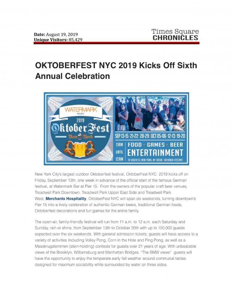Times Square Chronicles - OKTOBERFEST NYC 2019 Kicks Off Sixth Annual Celebration