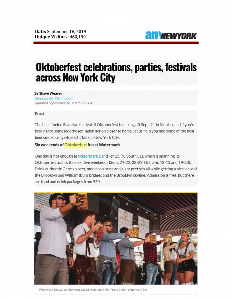 AM New York - Oktoberfest Celebrations, Parties, Festivals Across New York City