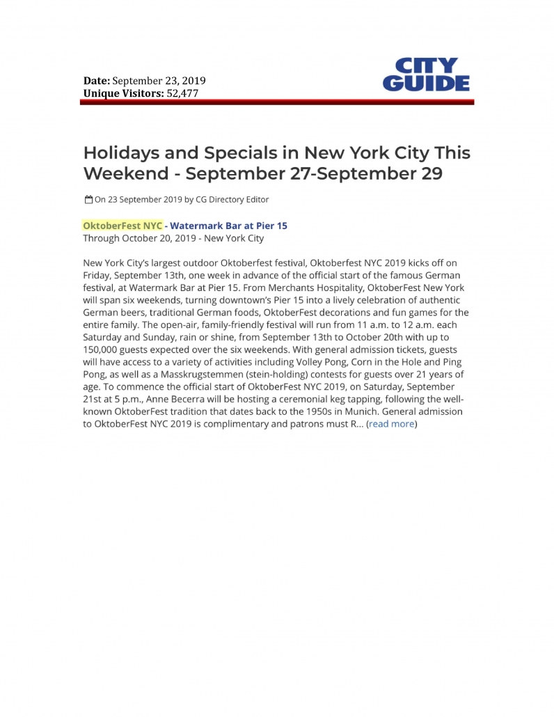 City Guilde NY - Holidays and Specials in New York City This Weekend - September 27-September 29