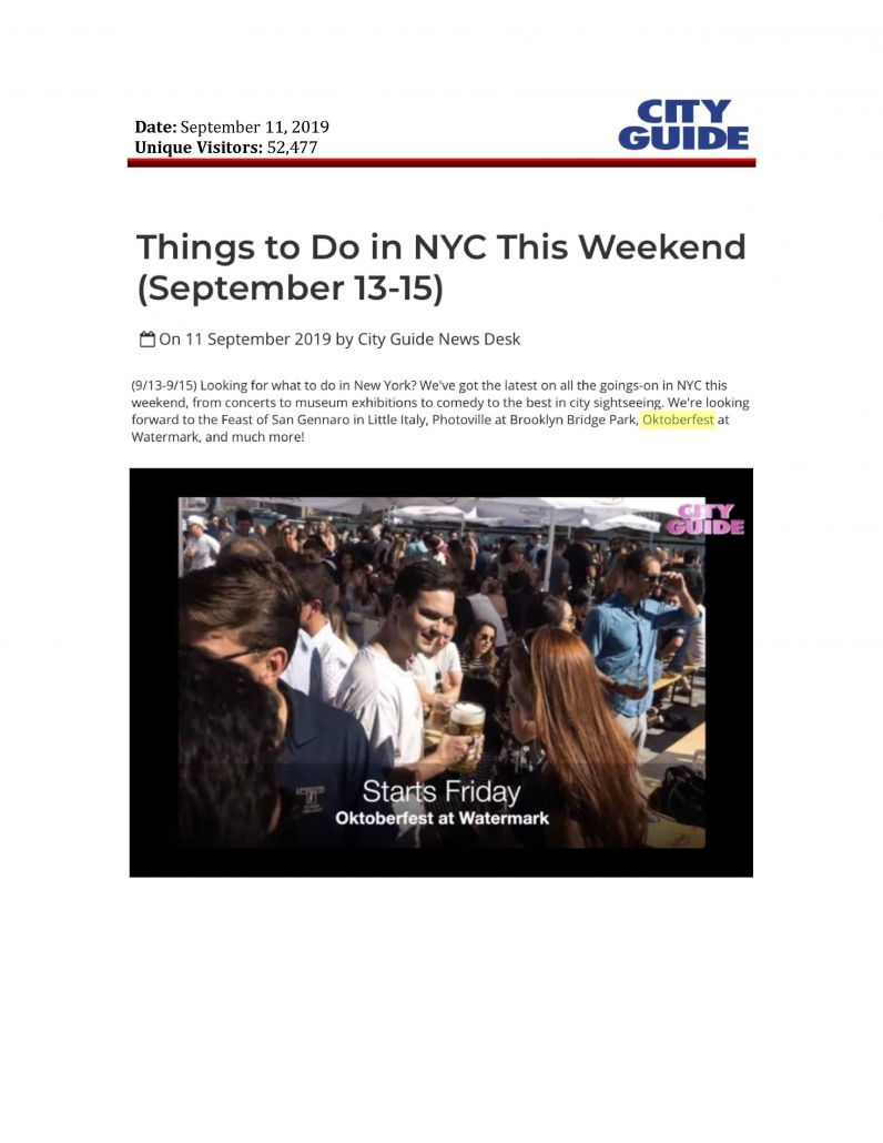 City Guide - Things to Do in NYC This Weekend (September 13-15)