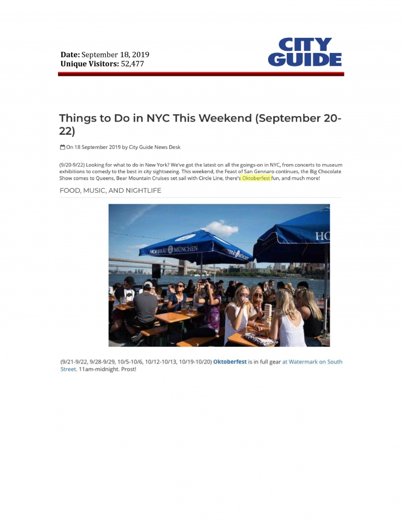 City Guide NY - Things to Do in NYC This Weekend (September 20-22)