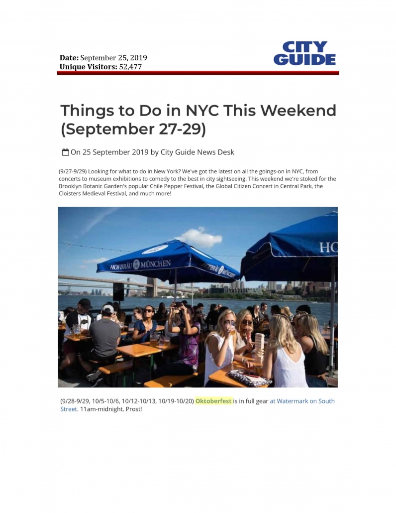 City Guide NY - Things to Do in NYC this Weekend (September 27-29)
