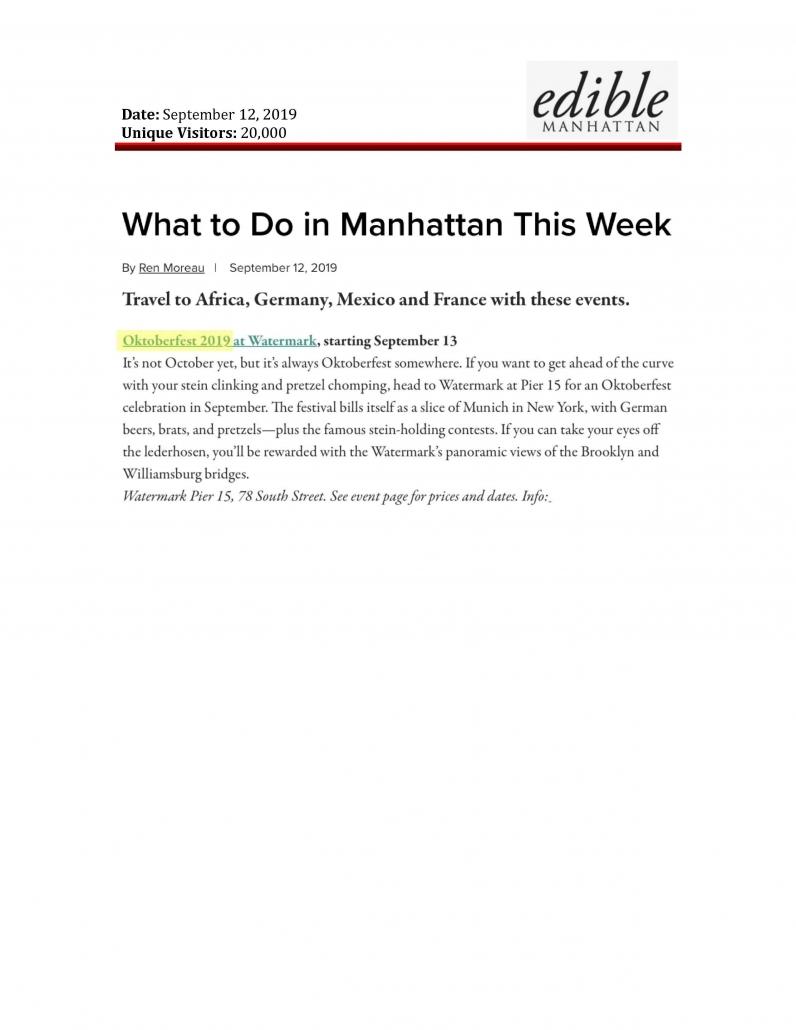 Edible Manhattan - What to Do in Manhattan This Week