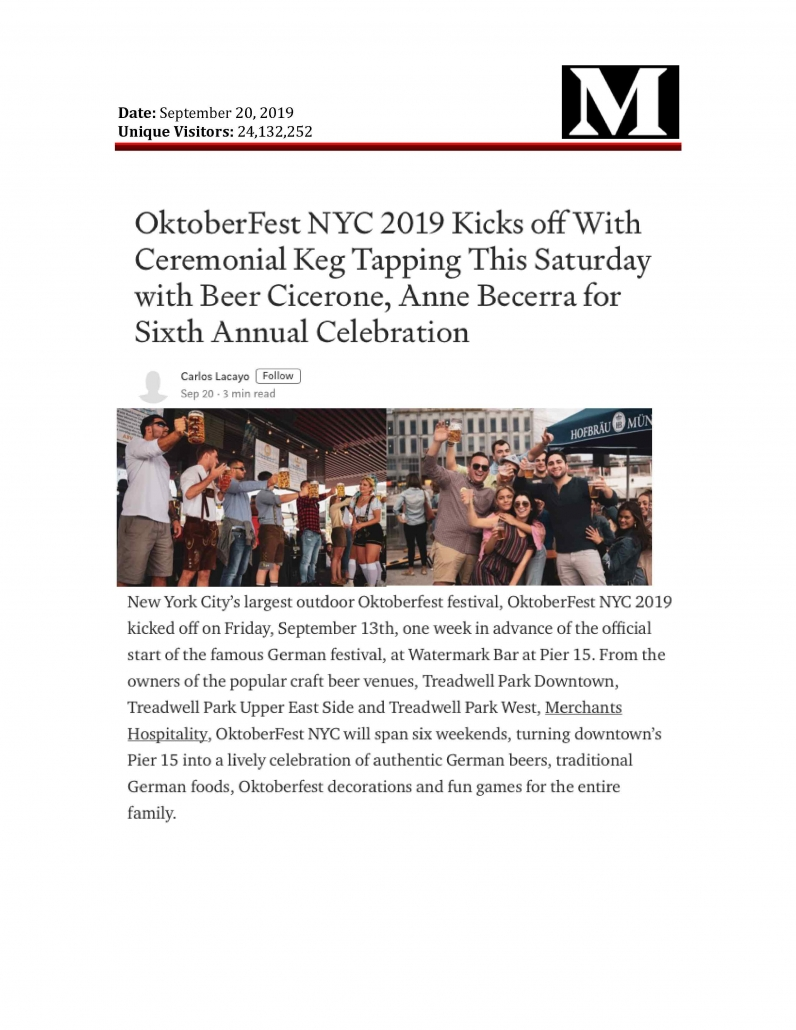 Medium - OktoberFest NYC 2019 Kicks off With Ceremonial Keg Tapping This Saturday with Beer Cicerone, Anne Becerra for Sixth Annual Celebration