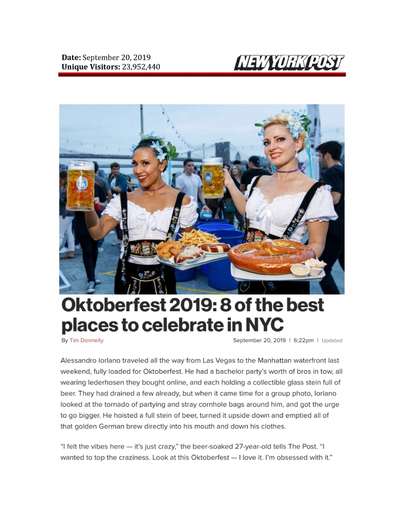 New York Post - Oktoberfest 2019 - 8 of the Best Places to Celebrate in NYC