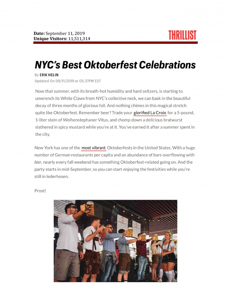 Thrillist - NYC's Best Oktoberfest Celebrations