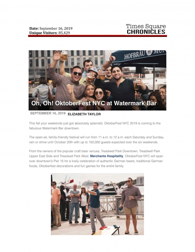 Times Square Chronicles - Oh, Oh! OktoberFest NYC at Watermark Bar