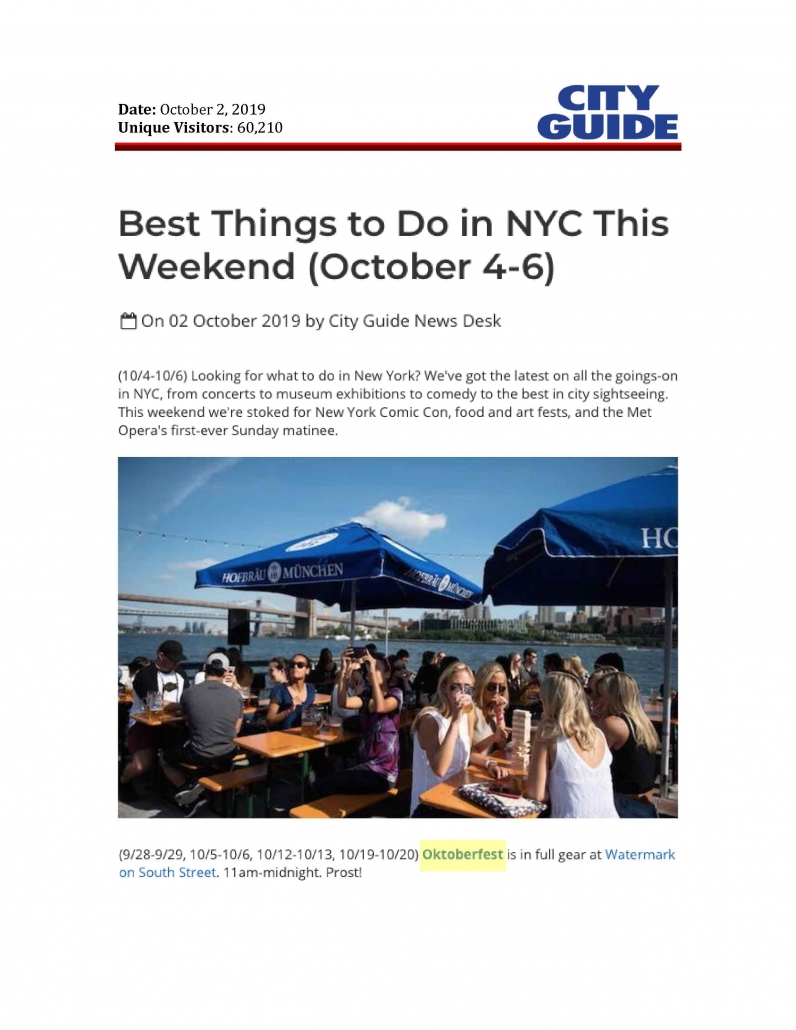 City Guide NY - Best Things to Do in NYC this Weekend (October 4-6)