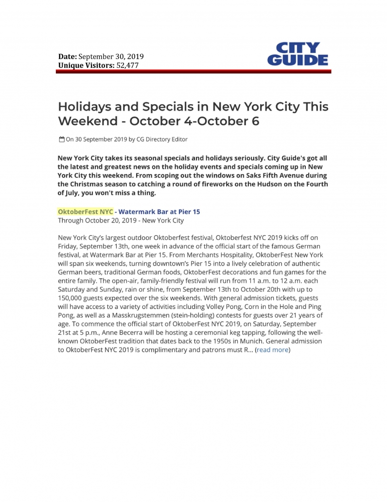 City Guide NY- Holidays and Specials in New York City This Weekend, October 4-October 6